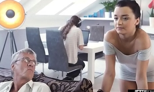 Old Man Disallow Fucks His Sons Girlfriend Helter-skelter Same Room