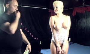 Blonde spitfire got tied up and fucked hard by two horny often proles