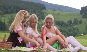 Nice first lesbian take on between three teen girls having tons be useful to enjoyment together outdoor to hand picnic, licking pussies, using sex toys, moaning from pleasure